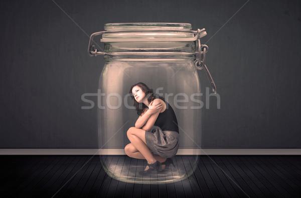 Kobieta interesu uwięzione szkła jar przestrzeni finansów Zdjęcia stock © ra2studio