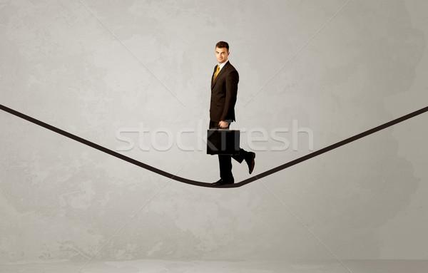 Vendedor caminhada corda cinza espaço empresário Foto stock © ra2studio