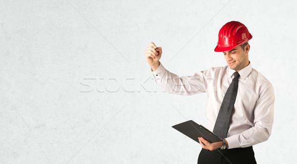 小さな 建築 図面 赤 ストックフォト © ra2studio