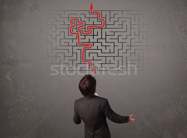 Business man looking at a maze and the way out  Stock photo © ra2studio