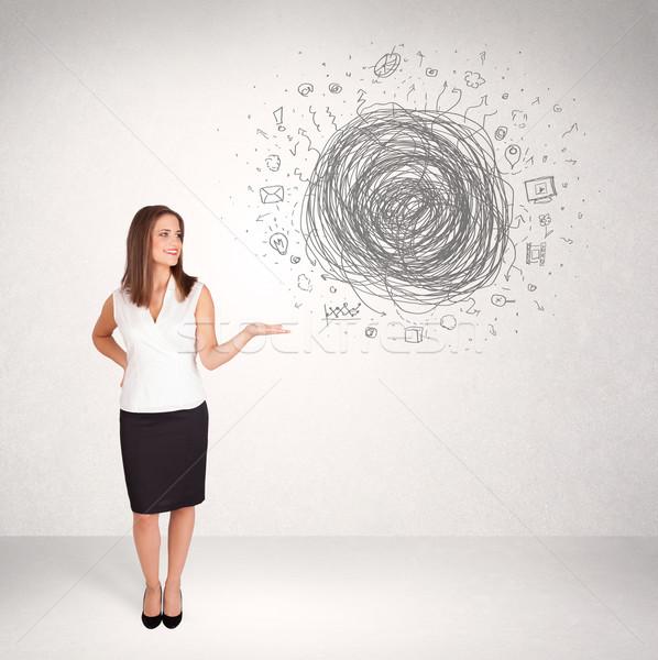 Сток-фото: молодые · деловой · женщины · СМИ · болван · интернет · аннотация