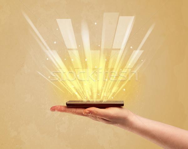 El telefon sarı ışık kafkas Stok fotoğraf © ra2studio