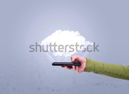 Сток-фото: стороны · телефон · пусто · облаке · мужчины