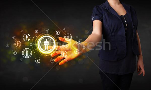 Moderna mujer de negocios tocar futuro tecnología red social Foto stock © ra2studio