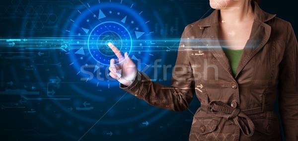 小さな ハイテク 女性 ハイテク コントロールパネル ストックフォト © ra2studio