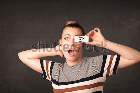 Jonge dom meisje naar oog Stockfoto © ra2studio