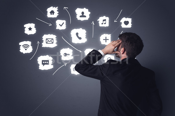ビジネスマン 白 アプリケーション 小さな 黒服 立って ストックフォト © ra2studio