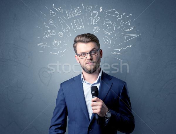 Foto stock: Empresário · microfone · misto