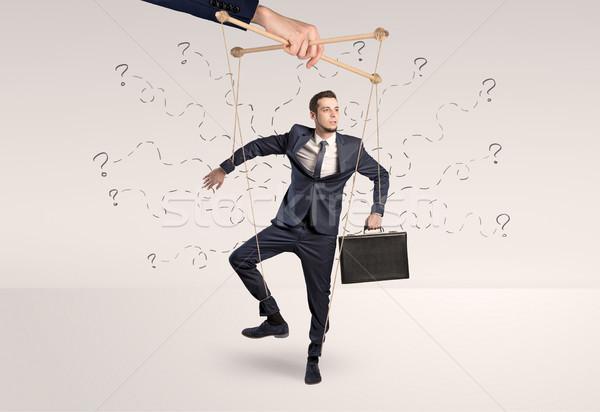 Báb üzletember firka vonalak körül marionett Stock fotó © ra2studio