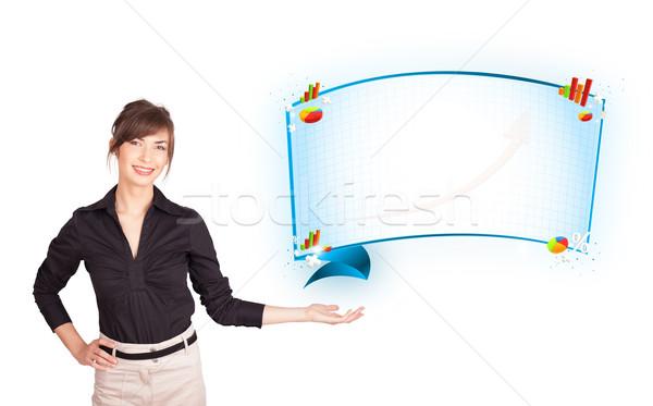 Jeune femme résumé espace de copie diagrammes isolé Photo stock © ra2studio