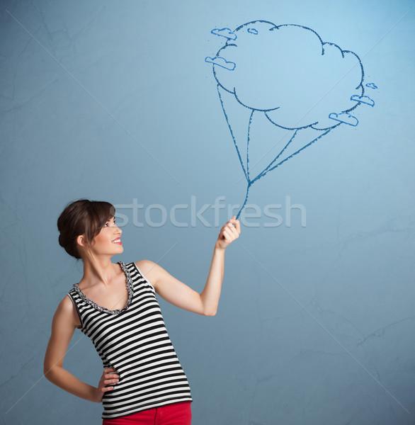 Stockfoto: Mooie · dame · wolk · ballon · tekening