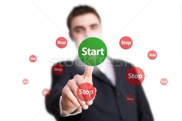 Stock photo: hand pressing START button