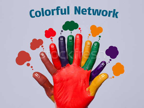 Stock photo: Colorful happy finger smileys with network sign