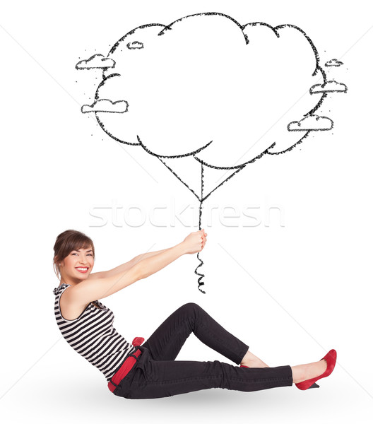 Zdjęcia stock: Młodych · pani · Chmura · balon · rysunek