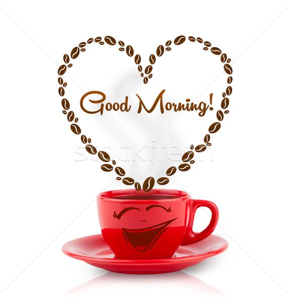 Kahve kupa kahve çekirdekleri kalp sabah iyi imzalamak Stok fotoğraf © ra2studio