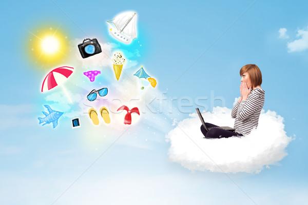 Fiatal üzletember ül felhő laptop csinos Stock fotó © ra2studio