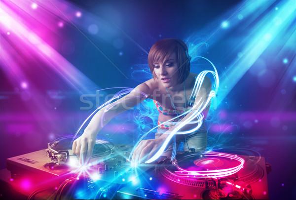 Enérgico menina música poderoso efeitos de luz festa Foto stock © ra2studio