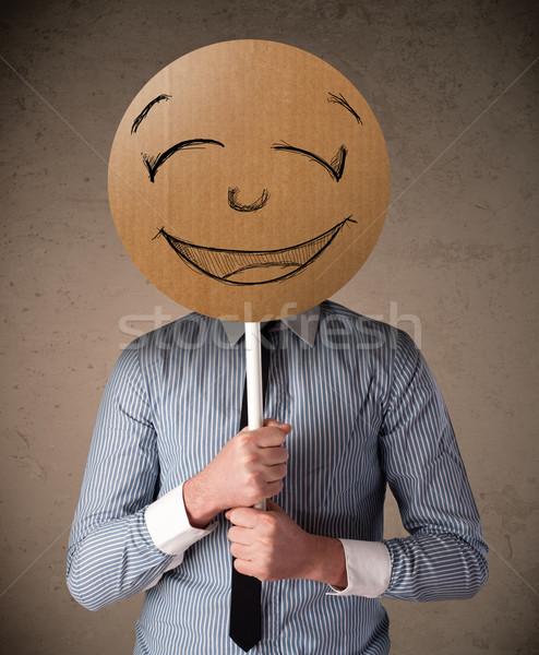 Empresário rosto sorridente conselho cartão emoticon Foto stock © ra2studio
