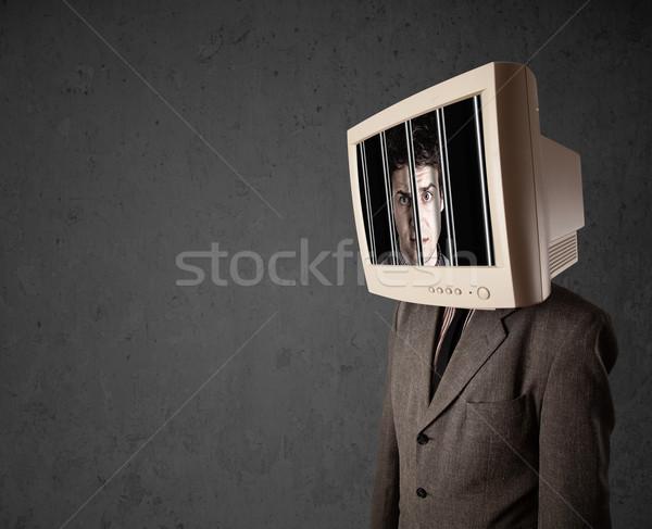 Uomo d'affari monitor testa digitale schermo business Foto d'archivio © ra2studio