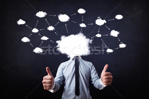 Photo stock: Homme · d'affaires · réseau · cloud · tête · carte · technologie