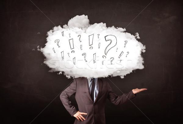 ストックフォト: ビジネスマン · 雲 · 頭 · 質問 · ビジネス · コンピュータ