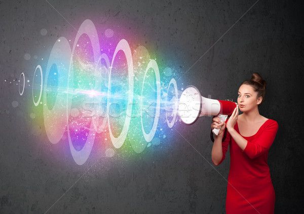 Fiatal lány hangfal színes energia nyaláb aranyos Stock fotó © ra2studio