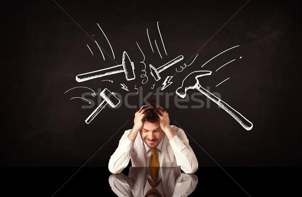 Foto stock: Deprimido · empresario · sesión · martillo · jóvenes · blanco