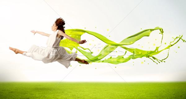Stock fotó: Csinos · lány · ugrik · zöld · absztrakt · folyadék