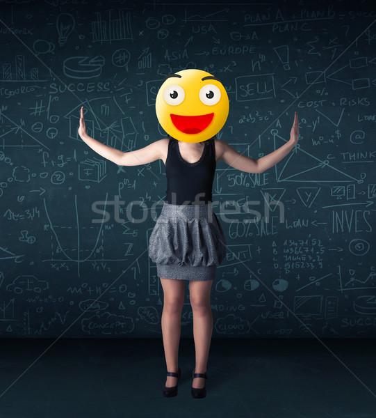 Foto stock: Mujer · de · negocios · amarillo · cara · sonriente · funny · negocios · sonrisa