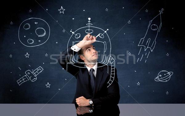 Foto stock: Ventas · persona · dibujo · casco · espacio · cohete