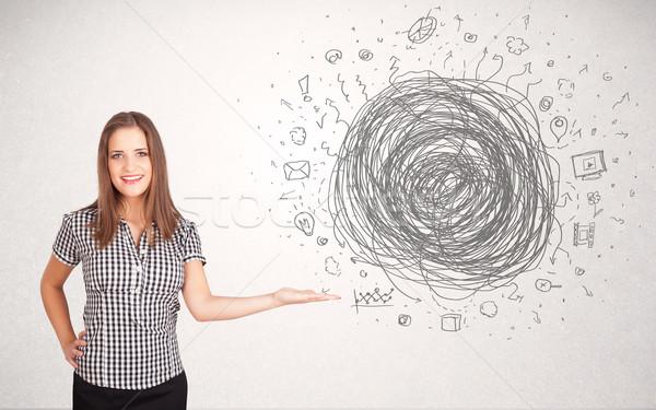 Сток-фото: молодые · деловой · женщины · СМИ · болван · компьютер · телефон