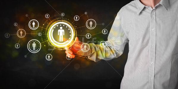Foto stock: Moderna · empresario · tocar · futuro · tecnología · red · social