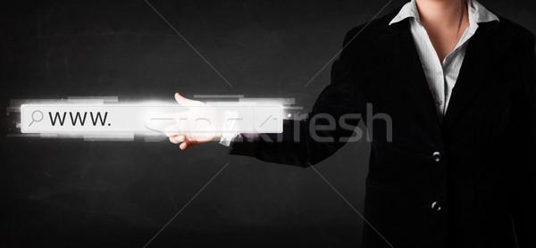 Fiatal üzletasszony megérint háló böngésző cím Stock fotó © ra2studio