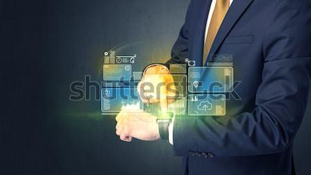 Hombre empresario datos símbolos negocios Foto stock © ra2studio