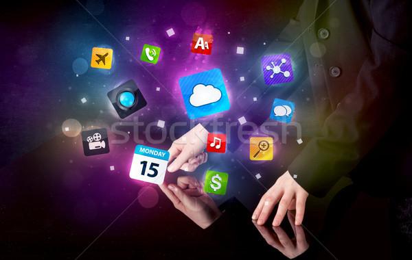 Kezek megérint interaktív asztal férfi színes Stock fotó © ra2studio