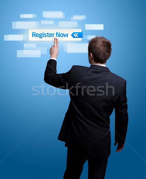 hand pressing register now button. Stock photo © ra2studio