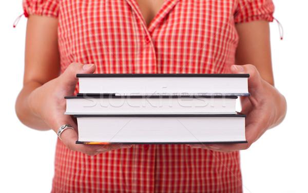 Stockfoto: Jonge · schoolmeisje · boeken · gelukkig · teen