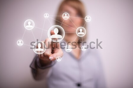 Hand social media icon vrouw business Stockfoto © ra2studio