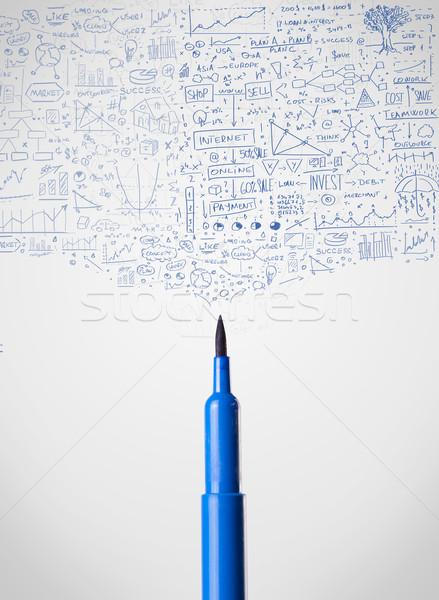Felt pen close-up with diagrams Stock photo © ra2studio