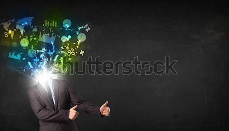 Worker with airbrush gun paints colorful lines and splashes Stock photo © ra2studio