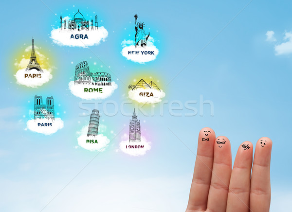 Wesoły palec zwiedzanie ikona szczęśliwy Zdjęcia stock © ra2studio