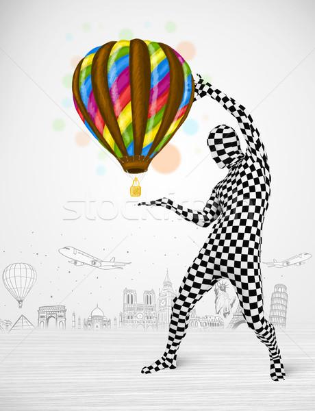 Man pak ballon grappig Stockfoto © ra2studio