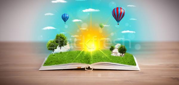 Libro aperto verde natura mondo fuori Foto d'archivio © ra2studio