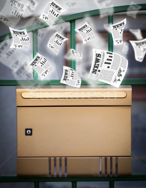 Posta doboz minden nap újságok repülés ki Stock fotó © ra2studio