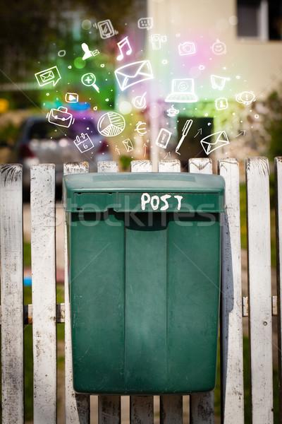Kolorowy ikona symbolika na zewnątrz poczty nowoczesne Zdjęcia stock © ra2studio