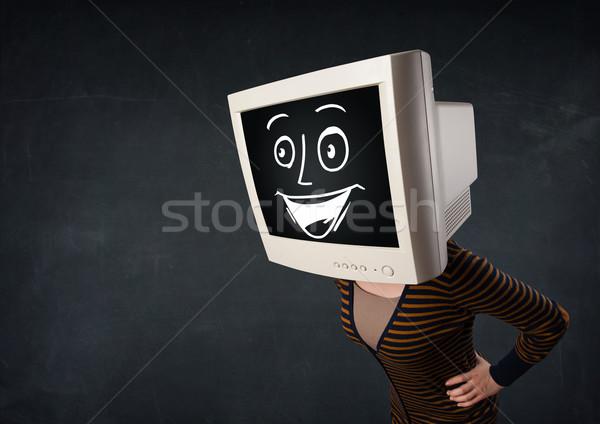 Mädchen Monitor Kopf heiter Karikatur Gesicht Stock foto © ra2studio
