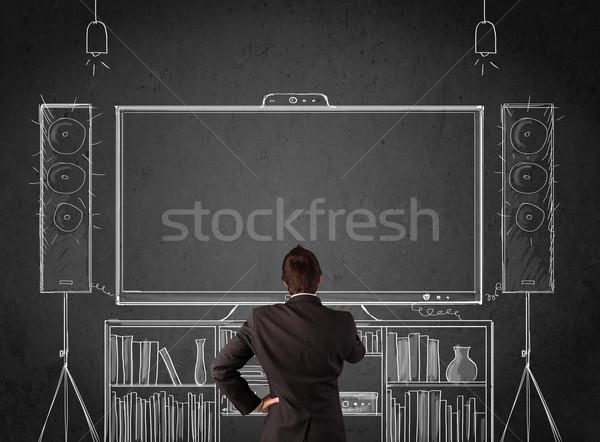 üzletember otthoni mozi fiatal áll élvezi férfi Stock fotó © ra2studio