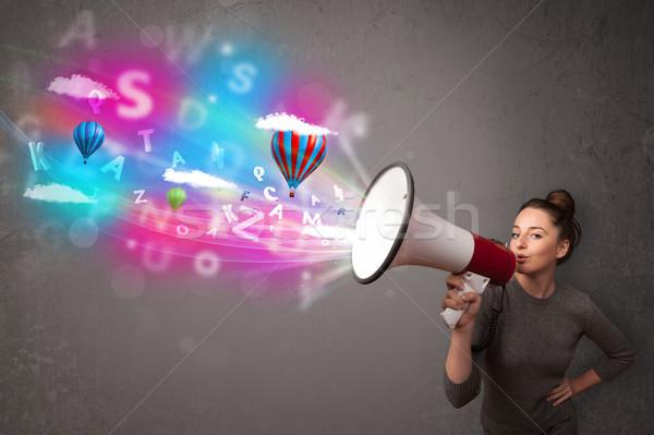 Meisje megafoon abstract tekst ballonnen Stockfoto © ra2studio