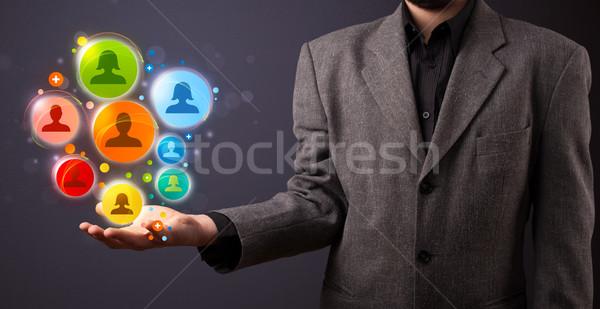 Сток-фото: иконки · стороны · бизнесмен · молодые