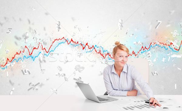 üzletasszony ül asztal tőzsde grafikon 3D Stock fotó © ra2studio
